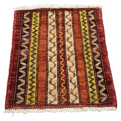 Small Asian Bedside Carpet from Afghanistan, Colorful / 306