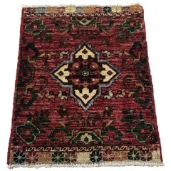 Small Asian Bedside Carpet from Afghanistan, Colorful / 316