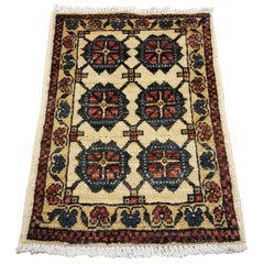 Small Asian Bedside Carpet from Afghanistan, Colorful / 319