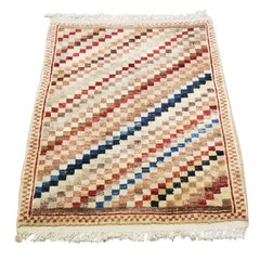 Small Asian Bedside Carpet from Afghanistan, Colorful / 321