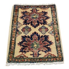 Small Asian Bedside Rug from Afghanistan, Colorful / 315