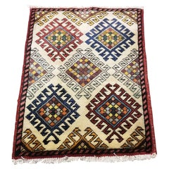 Small Asian Bedside Rug from Afghanistan, Colorful / 324