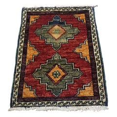 Small Asian Bedside Rug from Afghanistan, Colorful / 327