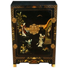 Small Asian Chinoiserie Painted Cabinet