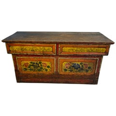 Small Asian Red And Yellow Painted Folk Art Desk-Top Writing Desk