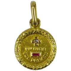 Small Augis French 18K More Than Yesterday Ruby Diamond Gold Love Charm Pendant