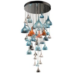 Small Aura Chandelier in Hand Blown Murano Glass by Davide Bruno