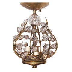 French Gilt Lantern with Glass Leaves