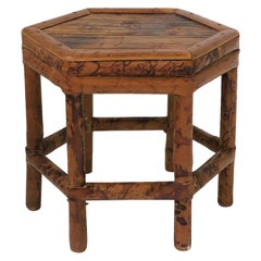 Small Bamboo Pedestal Side Table or Plant Stand