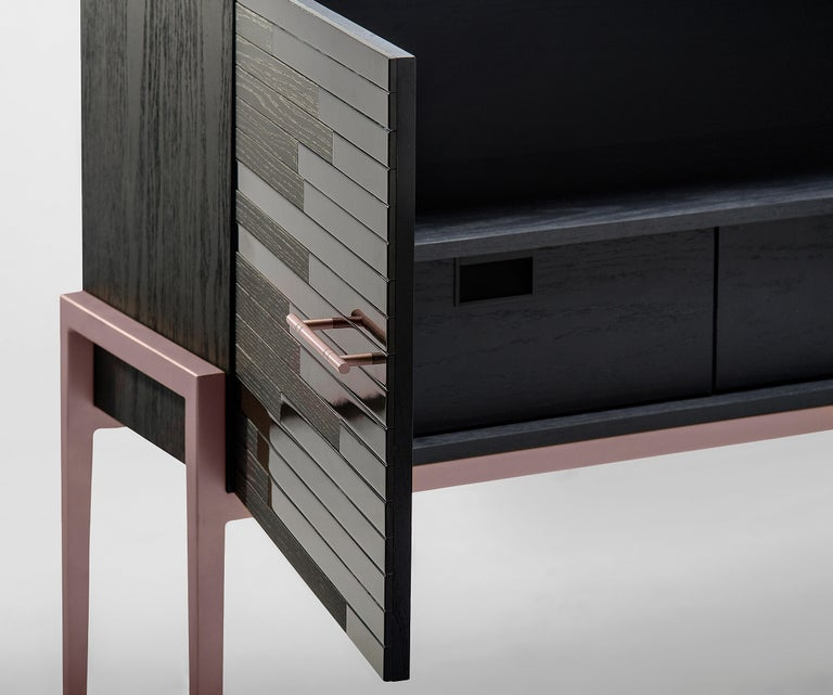 Veneer Small Cabinet for Living Room in Black Lacquer and Black Oak For Sale
