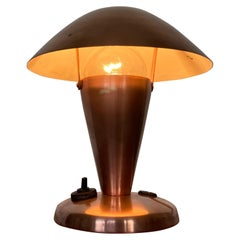Small Bauhaus Style Brass Table Lamp, Czechoslovakia, 1940s