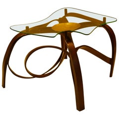 Small Bentwood Coffee Table with Brass Platform and Glass Top by Raka Studio