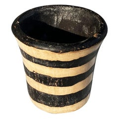 Small Black and White Stripe Candle Holder or Planter