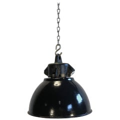 Small Black Enamel Industrial Pendant Lamp, 1950s