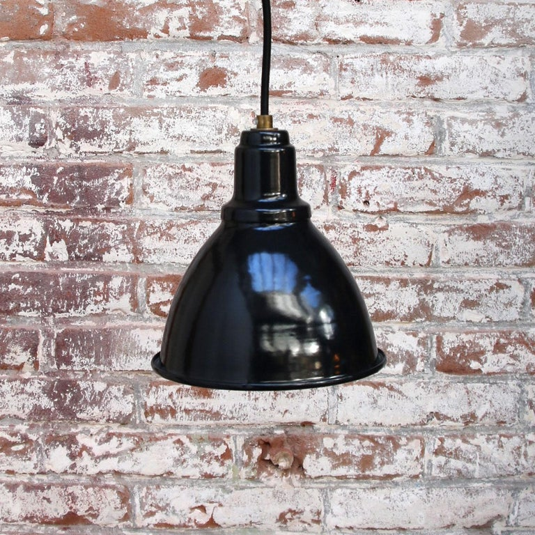 20th Century Small Black Enamel Vintage Industrial Factory Pendant Hanging Lights For Sale