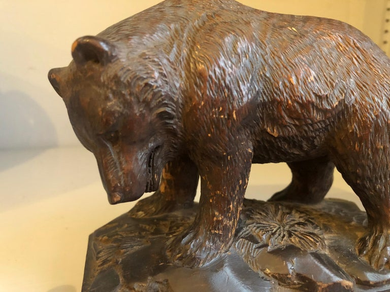 Black Forest Small Black Forrest Carving of a Bear, 19th Century For Sale