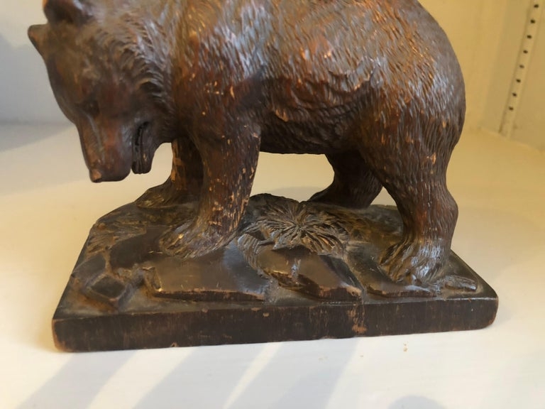 German Small Black Forrest Carving of a Bear, 19th Century For Sale