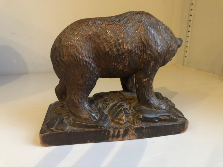 Small Black Forrest Carving of a Bear, 19th Century In Good Condition For Sale In Doylestown, PA