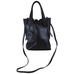 Small Black Italian Leather Tote