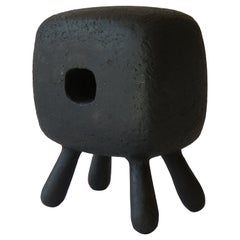 Small Black Rectangular Ceramic Sculpture with Center Opening on 4 Legs