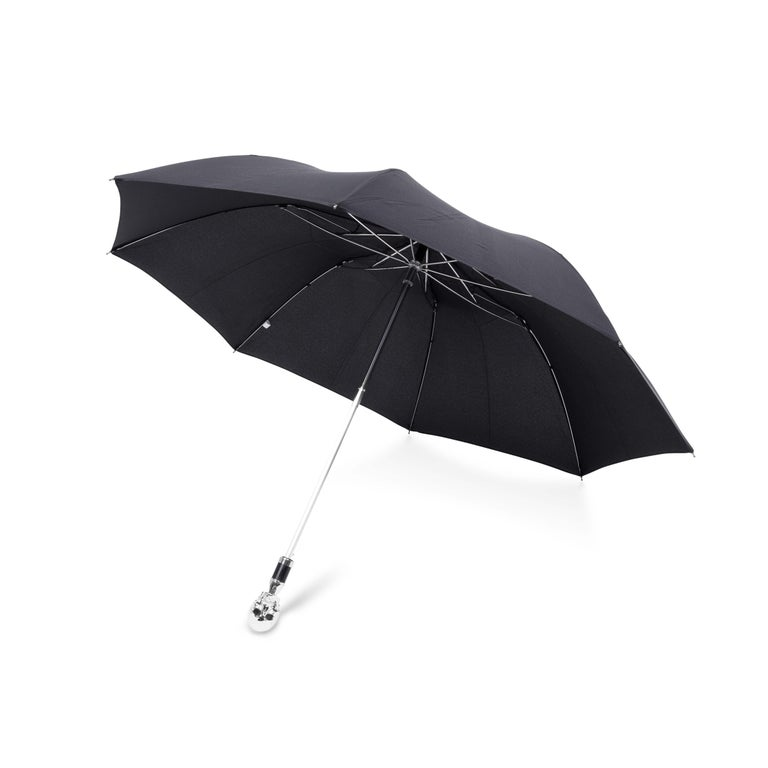 Contemporary Deakin & Francis Small Black Umbrella with Skull Head Handle For Sale