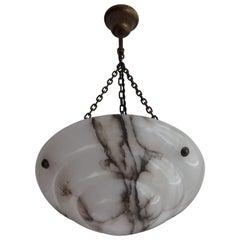 Small Black & White 1920s Alabaster Pendant Light / Excellent Condition Fixture