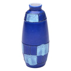 Small Blue Ceramic Vase by Strehla Keramik, 1950s