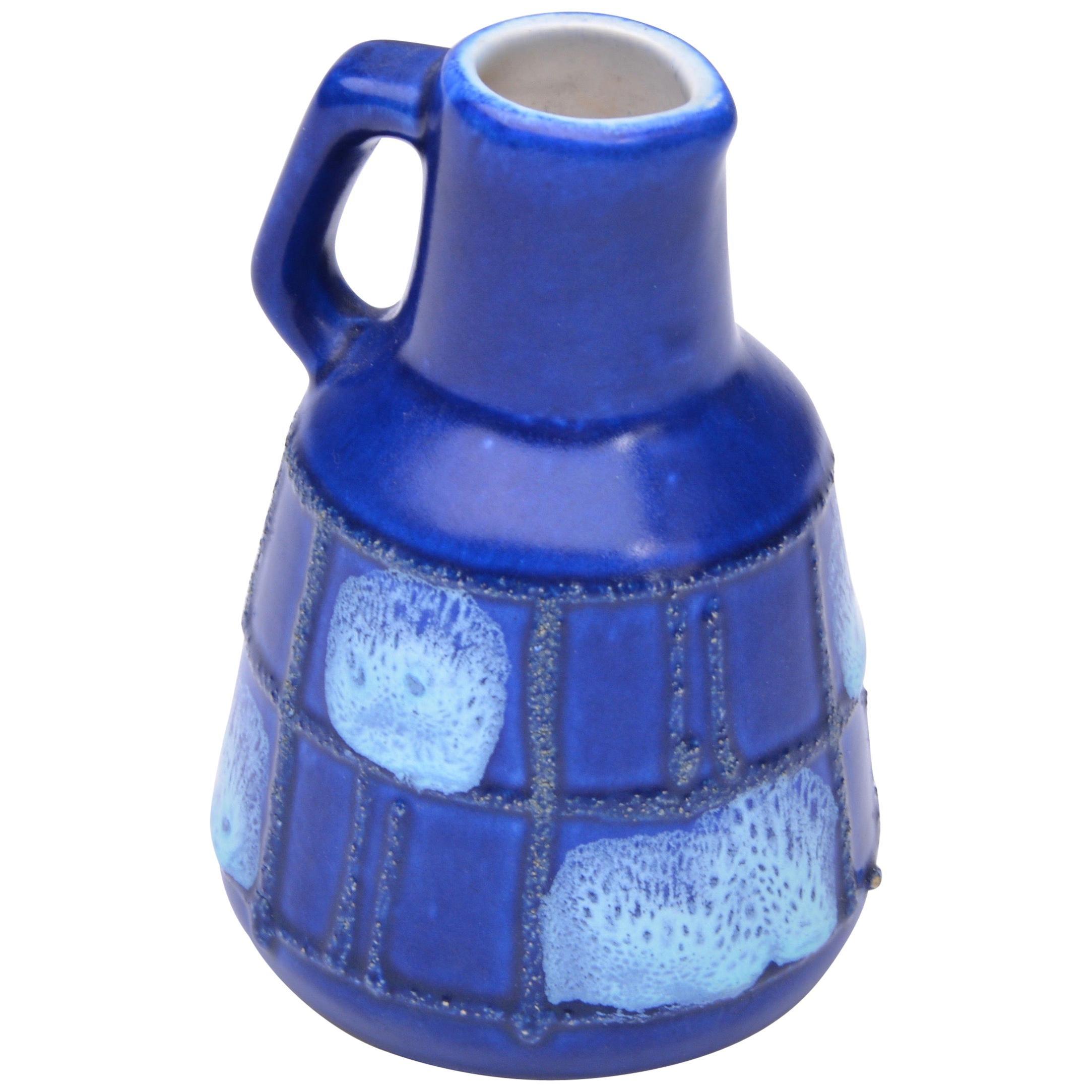 Small Blue Ceramic Vase by Strehla Keramik, 1950s