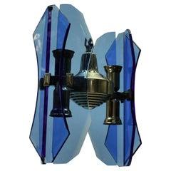 Small Blue Glass Pendant Light by Veca