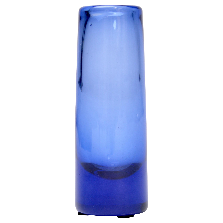 """Small Blue """"Labrador"""" Glass Vase by Per Lütken for Holmegaard, 1958"""