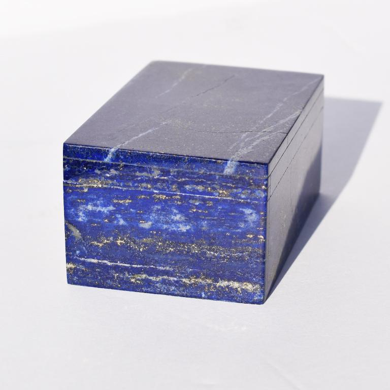 Grand Tour Small Blue Lapis Lazuli and Marble Stone Rectangular Jewelry or Trinket Box For Sale
