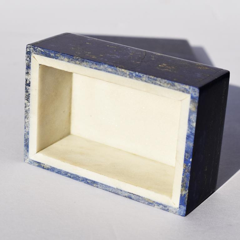 Unknown Small Blue Lapis Lazuli and Marble Stone Rectangular Jewelry or Trinket Box For Sale