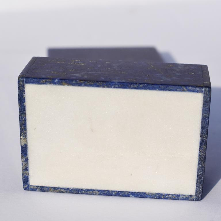 Small Blue Lapis Lazuli and Marble Stone Rectangular Jewelry or Trinket Box In Good Condition For Sale In Oklahoma City, OK