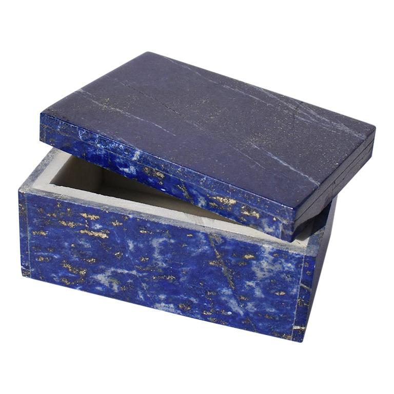 Small Blue Lapis Lazuli and Marble Stone Rectangular Jewelry or Trinket Box For Sale