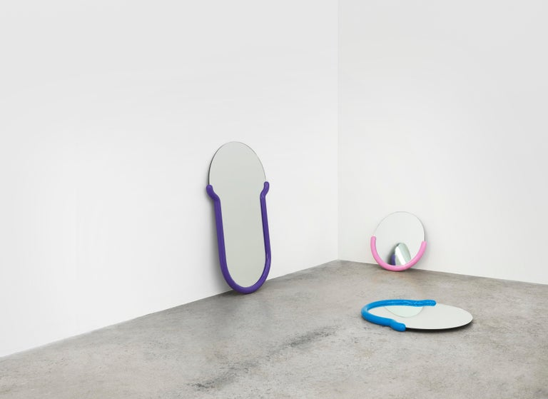 Loud Minimalist expressions and electric colors fuse in Greg Bogin's abstract mirrors for the Normann X Brask Art collection, creating objects that straddle the boundary between painting and functional object. His raison d'être is to contribute to
