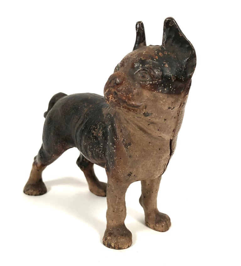 Small Boston Terrier Painted Cast Iron Coin Bank In Good Condition For Sale In Essex, MA