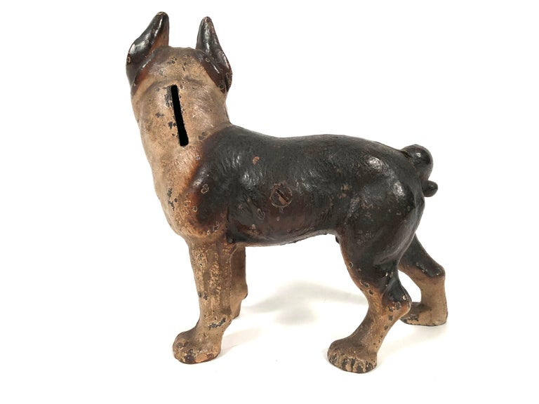Small Boston Terrier Painted Cast Iron Coin Bank For Sale 1