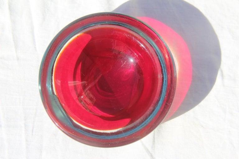 Italian Small Bowl Seguso Design Red Color Murano Art Glass, 1960s For Sale