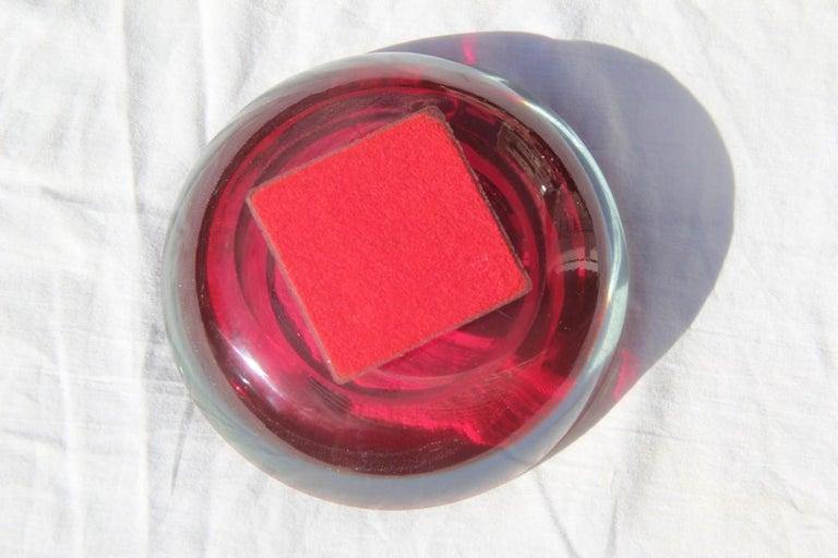 Small Bowl Seguso Design Red Color Murano Art Glass, 1960s In Good Condition For Sale In Palermo, Sicily