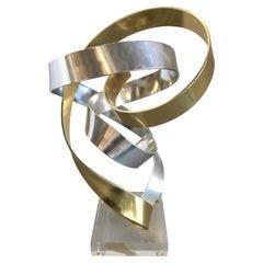 Small Brass and Silver Aluminum Ribbon Sculpture by Dan Murphy