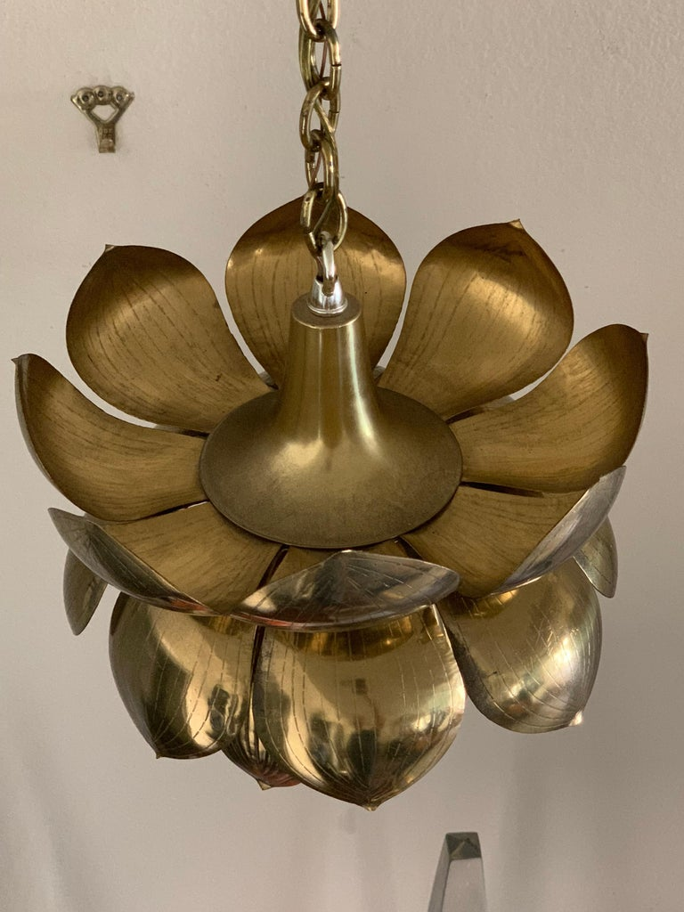 Mid-Century Modern Small Brass Lotus Pendant by Feldman For Sale
