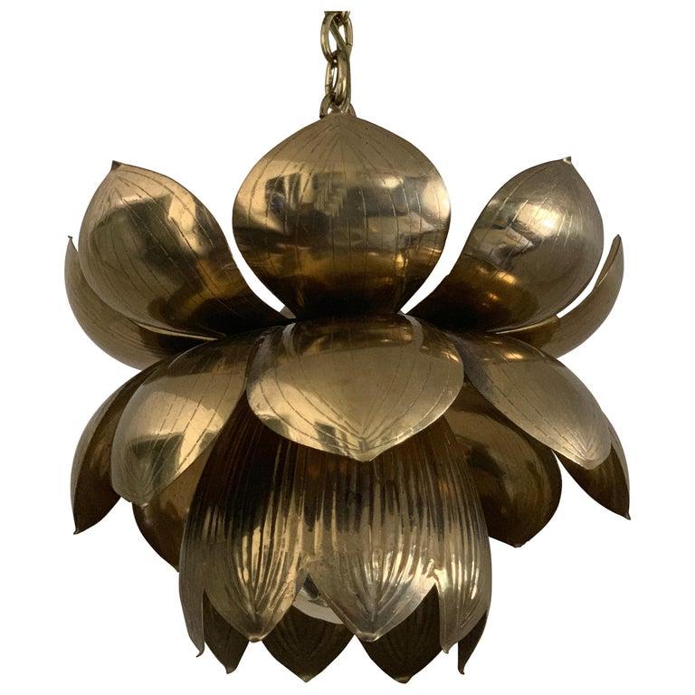 Small Brass Lotus Pendant by Feldman For Sale