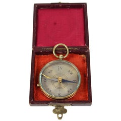 Small Brass Pocket Compass Made in Italy in the 1930s