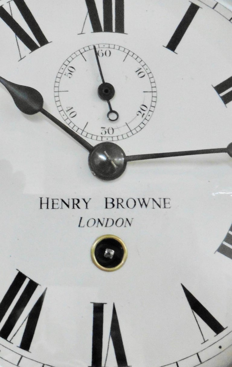 British Small Brass Ships Clock by Henry Browne, London For Sale