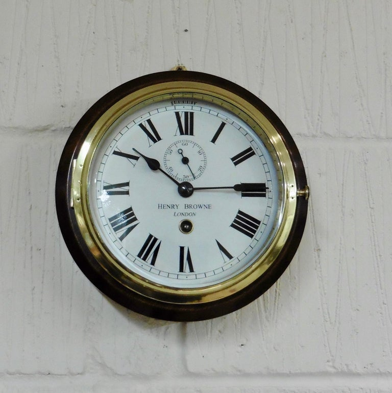 Small Brass Ships Clock by Henry Browne, London In Good Condition For Sale In Norwich, GB