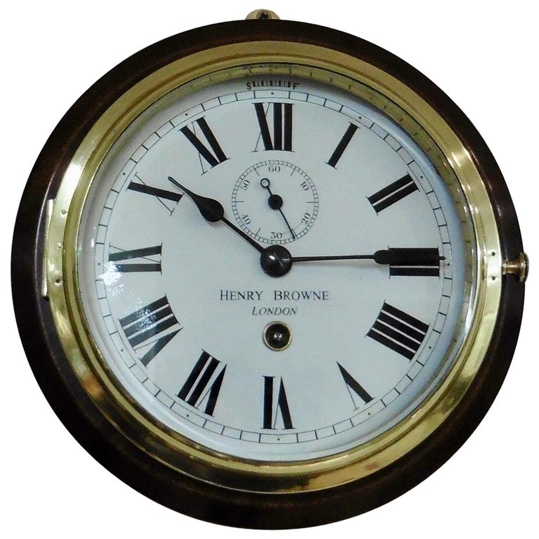Small Brass Ships Clock by Henry Browne, London For Sale