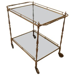 Small Brass Trolley with Tainted Glass, circa 1940