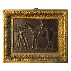 Small Bronze and Brass Racehorse Plaque, French 19th C.