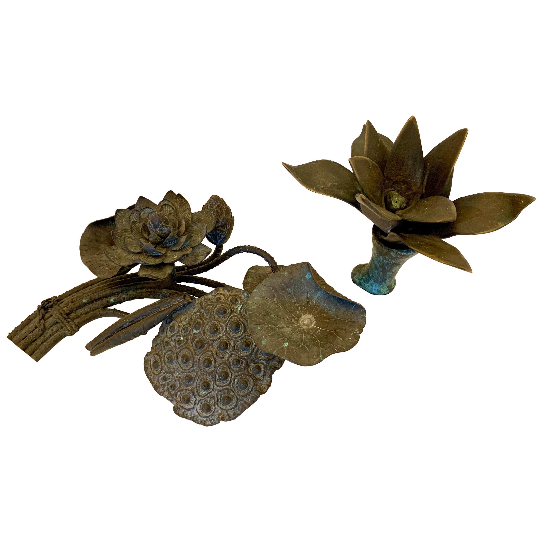 Small Bronze Botanicals Sculptures in a Dark Patina