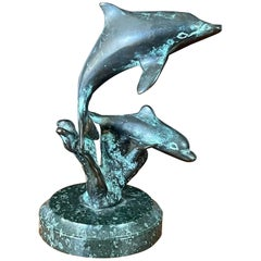 Small Bronze Dolphins Sculpture on Marble Base